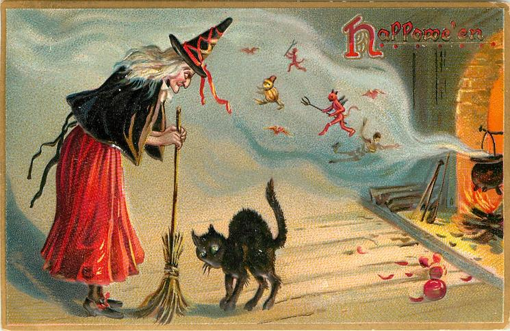 witch leans on boom, faces cat in front of fireplace, smoke is full of goblins