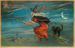 witch flies on broom, black cat on broom behind, quarter moon to right