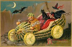 pumpkin person driving a witch and black cat in melon car, has four lemon wheels