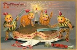 four small pumpkin people slice a pie, one on left has fork, one on right knife