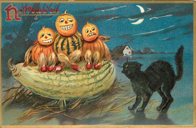 three pumpkin people sit on a squash, black cat looks on, house under moon behind