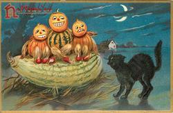three pumpkin people sit on a squash, black cat looks on, house under moon behind