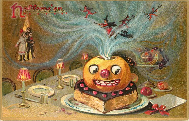 jack o lantern on top of cake on table, witches and goblins in smoke above