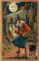witch stands with broom, basket over left arm, owl & bat above, black cat below