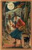 witch stands with broom, basket over left arm, owl & bat above, black cat below
