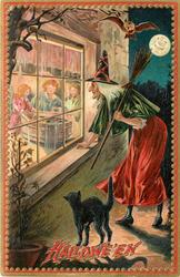 witch looks in window at three children bobbing, broom over left shoulder, cat to left