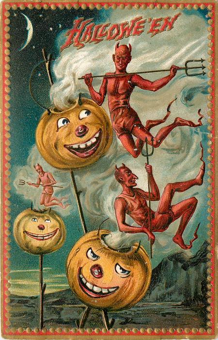 three Jack o Lanterns on sticks with three devils flying around