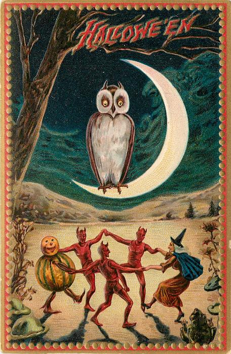 owl sitting on quarter moon, devils, witch & pumpkin person dance below