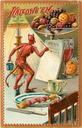 Devil writes a menu that leans against a glass of fruit and a glass of wine