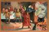 witch uncovers pot, spoon in right hand, Three pumpkin people & two devils at table