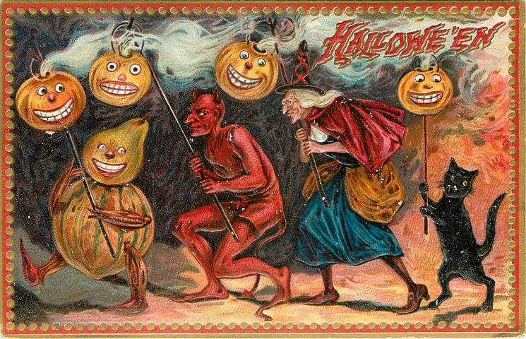 pumpkin person, devil, witch and cat all hold sticks with Jack O Lanterns on them
