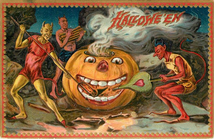 large Jack o Lantern in center, one devil on each side, right devil pumps bellows