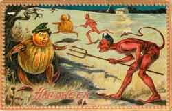 Devil with trident points it at pumpkin person, another devil chases pumpkin behind