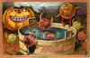 apple people jumping around and into a tub of water, smiling pumpkin watches