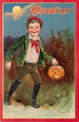 boy walks at night with jack o lantern in his left hand, full moon behind