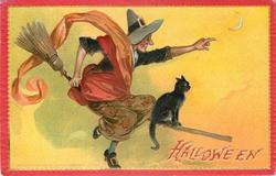 witch rides to right on broom with cat in front of her