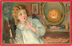 Jack o Lantern in mirror, girl  with candle in her right hand, left hand at her face