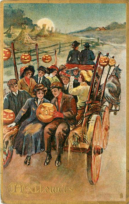 hayride scene with couple at back holding Jack-o-Lantern
