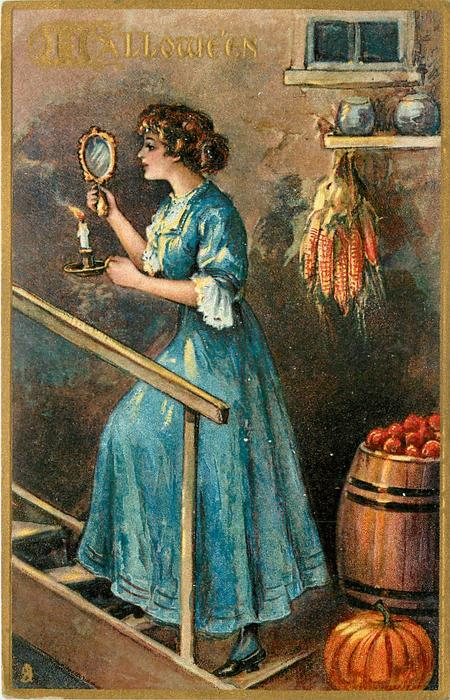 woman walking up steps with mirror in one hand, candle in the other