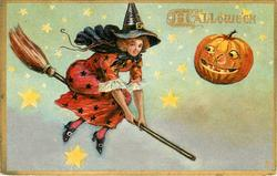 witch flying on broom, Jack-o-Lantern looking at her