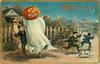 boy holds sheet with jack-o-lantern head, two boys and dog run away