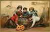 five children bob for apples in a tub of water, Jack-o-Lantern on floor front