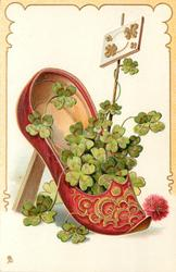 red slipper with fancy pattern on front, containing 4 leaf clovers