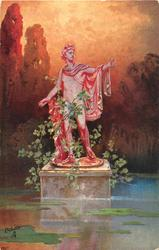 red-lit statue in pond of man with left arm outstretched to right