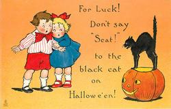 FOR LUCK!  DON'T SAY 'SCAT' TO THE BLACK CAT ON HALLOWE'EN!