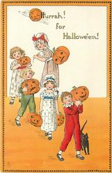 HURRAH! FOR HALLOWE'EN!  children walk front carrying jack-o-lanterns