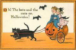OH! THE BATS AND THE CATS ON HALLOWE'EN!  children ride pumpkin pulled by cats