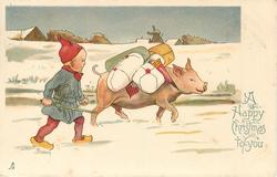 A HAPPY CHRISTMAS TO YOU  dwarf herds heavily loaded pig to right in snow
