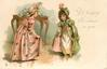 A HAPPY CHRISTMAS TO YOU  two overdressed girls curtsey to each other