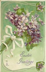 purple bunch with white bow around bottom, strings hanging and leaf hearts around rim of card