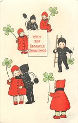 WITH THE SEASON'S GREETINGS  girl in red with clover, boy in black chimney sweep clothes