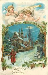 CHRISTMAS GREETINGS  three angels above insert of Santa leaving town