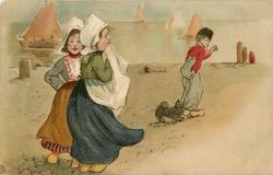two Dutch girls, Dutch boy and dog, harbour scene