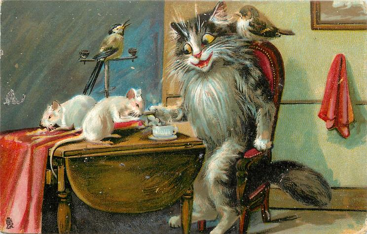 cat sitting at table, mice and birds
