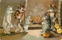 five cats around fire
