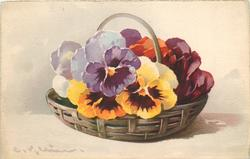 purple, white, red/orange and yellow (with purple centres) pansies in lattice basket