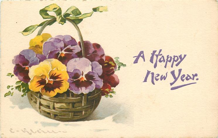 purple/violet, red and yellow (with purple centres) pansies in lattice basket with green bow