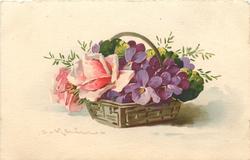 pink roses & violets in basket