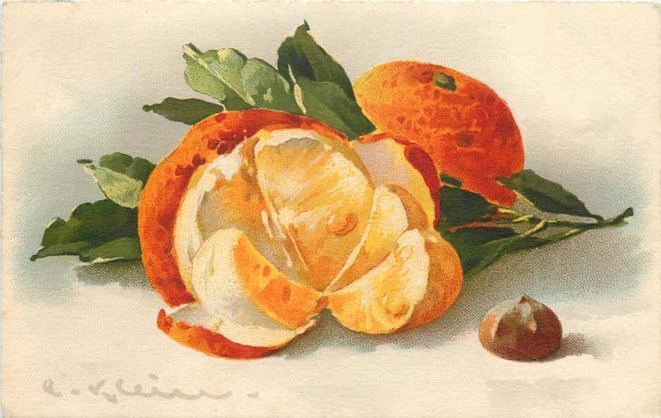 oranges, one opened