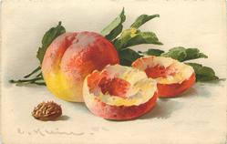 peaches, one cut open