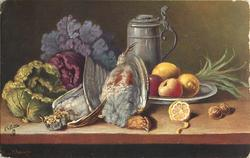 two dead birds on table, cabbage to left and plate of fruit right, tankard behind