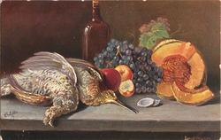 two dead birds on table with grapes, bottle behind other fruit, two shells by beak of right bird