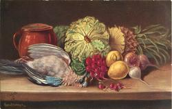 dead blue-jay to left in front of red/brown lidded tankard, radishes & vegetables, pineapple right