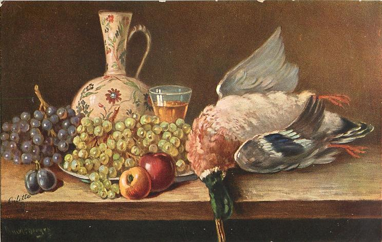 dead duck lying on right of table with fruit left and glass & decanter behind