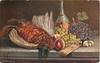 dead pheasant lying on table with fruit and decanter behind
