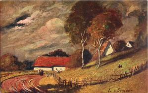 two trees, cottages, road and fencing